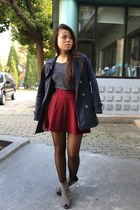 Zara skirt - Burberry coat - Forever 21 scarf - Pull & Bear top