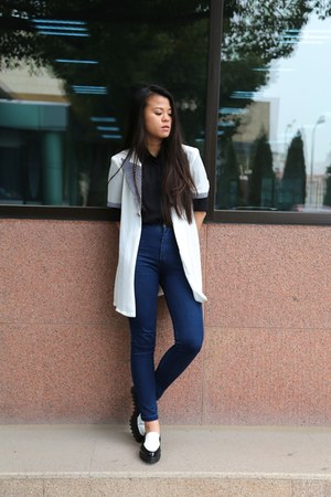 Urban Revivo shoes - American Apparel jeans - moms vintage cardigan