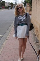 heather gray nastygal sweater - white Ebay dress - teal Barkins belt - cream Nov