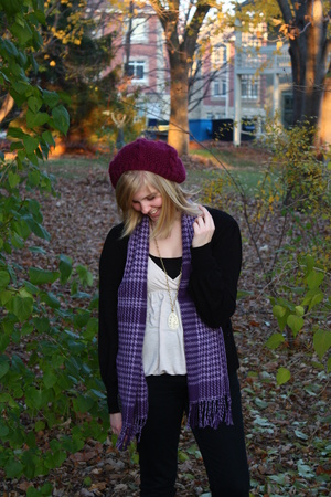 H&M hat - bardot top - garage jeans - Tie Rack scarf - bardot necklace - Forever