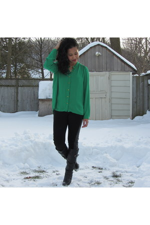 green sheer Forever 21 blouse - black faux leather chinatown boutique boots