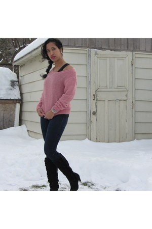 salmon knit H&M sweater - black suede Shoe Warehouse boots
