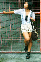 white thrifted blazer - nude F-STOP  Fashion Stop shorts - fabmanila bag - black