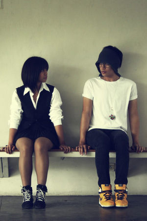 white top - black thrifted vest - black SM Dept Store skirt - black adidas shoes