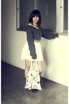 gray Topman sweater - white skirt - black American Boulevard belt - black adidas