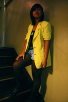 yellow thrifted blazer - Bazaar shorts - black tights - black