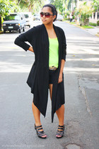black thrifted cardigan - chartreuse top - black St Francis Square - Mango sungl