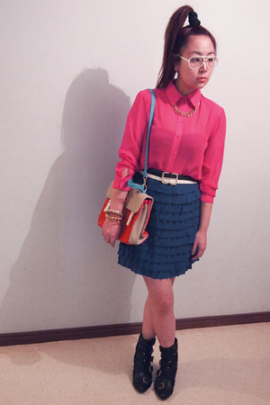 blue skirt - black rubi boots - gmarket bag - hot pink supre blouse