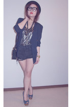 navy asos heels - black Shibuya 109 hat - navy thrifted blazer - Target bag