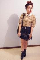 beige gmarket blouse - black rubi boots - black gmarket bag - black Target skirt