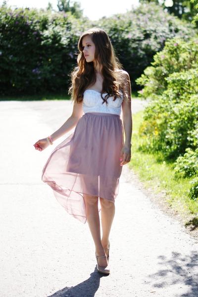 light pink Dorothy Perkins skirt - white Bik Bok top