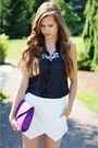 Amethyst-mojito-bag-white-zara-shorts-black-bianco-heels