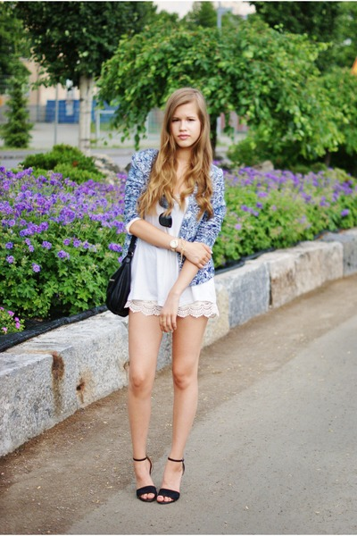 white Zara shorts - navy H&M blazer - white Bik Bok top - black Bianco heels