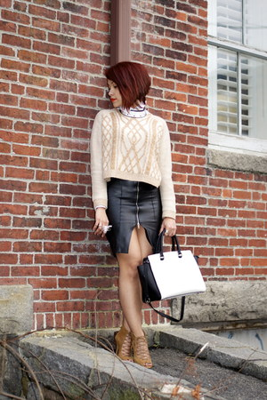 faux leather Zara skirt - Urban Outfitters sweater - selma Michael Kors purse