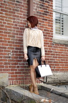 faux leather Zara skirt - Urban Outfitters sweater - selma Michael Kors purse