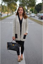 off white leather pockets Zara sweater - Zara leggings - black leather Zara bag