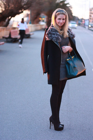 leather Zara coat - H&M dress - fur scarf - leather Zara heels