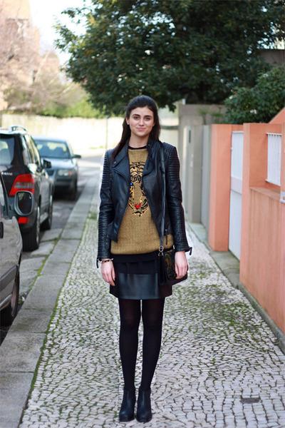 black Zara boots - black Zara jacket - mustard Zara sweater