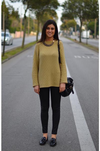 vintage sweatshirt - Zara flats - Zara necklace - Zara pants