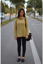 vintage sweatshirt - Zara flats - Zara necklace - Zara pants