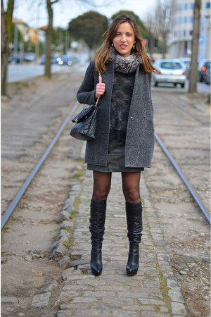 gray sequin Zara coat - black leather Sergio Rossi boots - dark gray Zara shirt