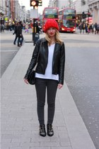 red hat - black buckle Zara boots - charcoal gray Primark jeans