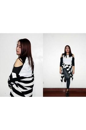 navy DressLink leggings - white DressLink top - black - black