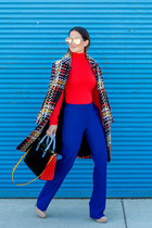 black plaid escada coat - red turtleneck escada sweater