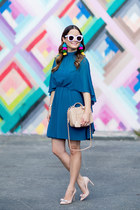 teal chiffon Ali and Jay dress - beige quilted Chanel bag