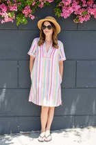 tan straw hat Nordstrom hat - bubble gum striped J Crew dress
