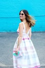 White-striped-asos-dress-aquamarine-clutch-oui-fresh-bag