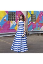 blue maxi gown Alice  Olivia dress - bubble gum clutch Target bag