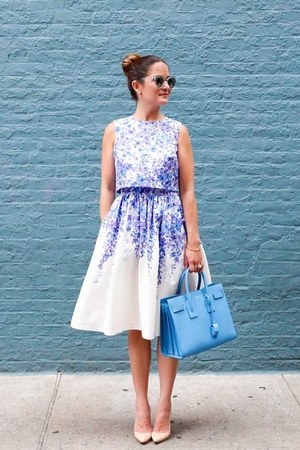 violet floral dress Donna Morgan dress - blue satchel Yves Saint Laurent bag