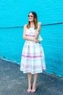 White-striped-asos-dress-aquamarine-clutch-oui-fresh-bag