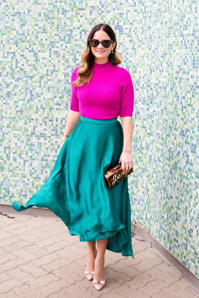 green satin asos skirt - hot pink short sleeve asos sweater