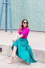 Hot-pink-short-sleeve-asos-sweater-brown-monogram-moon-and-lola-bag