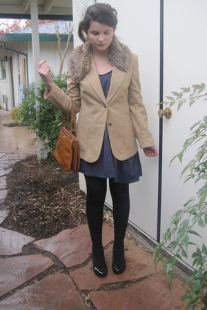 navy vera wang dress - tan thrifted blazer - brown Forever 21 - tawny thrifted b