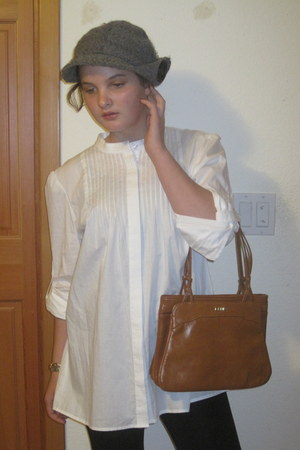 white thrifted blouse - tawny thrifted bag - charcoal gray moms hat - black legg