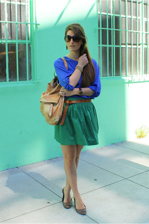 Zara skirt - Zara shirt - 49 sq mi bag - Aldo flats - Gold & Citrus earrings