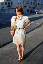 Zara dress - Express shirt - 49 sqmi bag - Gold & Citrus necklace - Ellen Tracy
