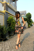 jeans vest - flowers Forever 21 dress - studded bag