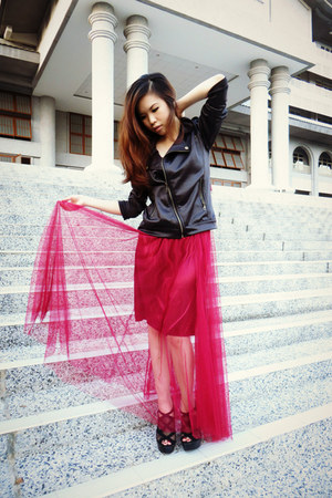 black leather jacket - tulle maroon skirt - black heels