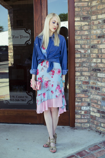 sky blue floral print Express dress - blue denim thrifted shirt