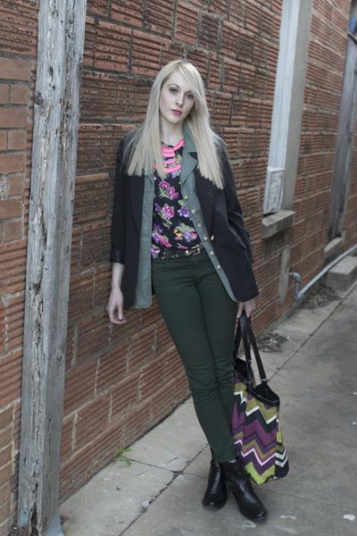 missoni for target bag - skinny jeans Zara jeans - vintage blazer