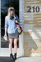 tote missoni for target bag - denim thrifted blouse - striped Forever21 skirt