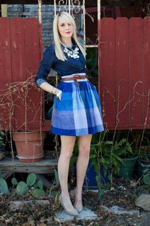 blue full mini vintage skirt - navy denim thrifted blouse