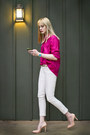 Light-pink-skinny-tommy-hilfiger-jeans-hot-pink-thrifted-blouse-nude-pumps-b