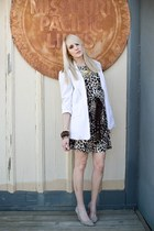 brown leopard print Mango dress - ivory boyfriend thrifted blazer