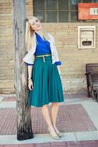 green unknown skirt - blue pleated v neck vintage blouse