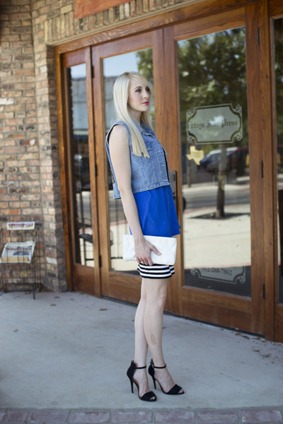light blue denim vintage vest - black striped pencil Forever 21 skirt
